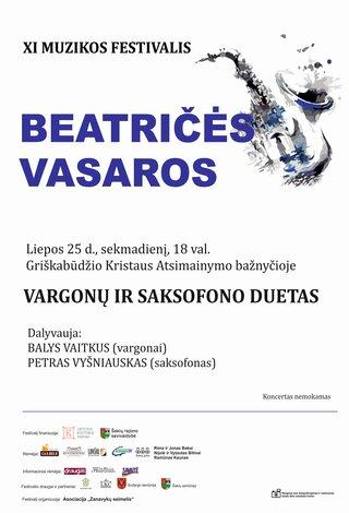 """XI muzikos festivalis """"Beatričės vasaros"""" VARGONŲ IR SAKSOFONŲ DUETAS"""