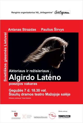 Aktoriaus ir režisieriaus Algirdo Latėno poezijos vakaras