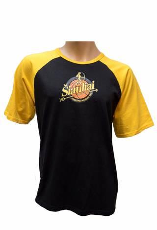 Juodi marškinėliai geltonomis rankovėmis su logotipu