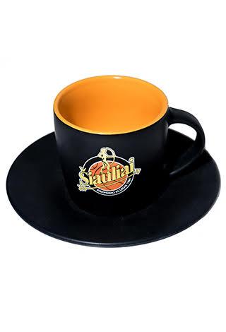 Keramikinis puodelis su lėkštute