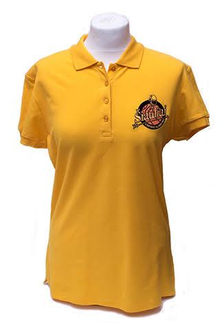Moteriško kirpimo polo marškinėliai su siuvinėtu logotipu